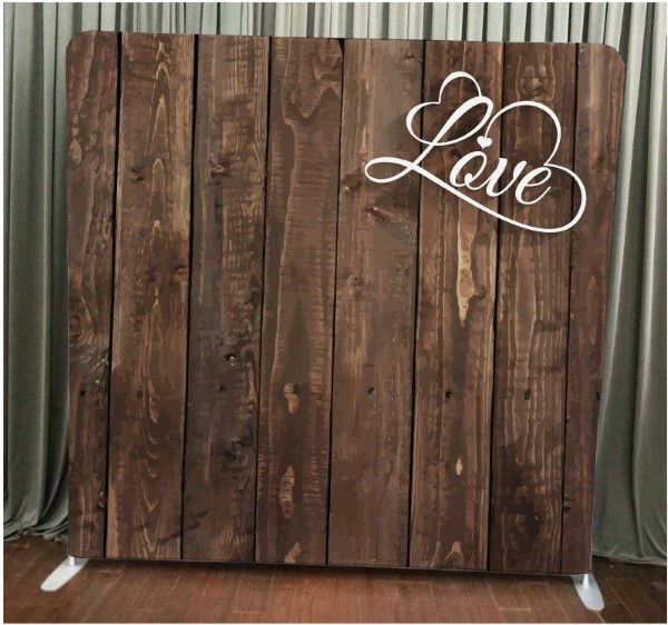 Milestone Photo Booth Rental NJ Dark Wood Love Backdrop Open Air Special Event Keyport New Jersey New York Pennsylvania