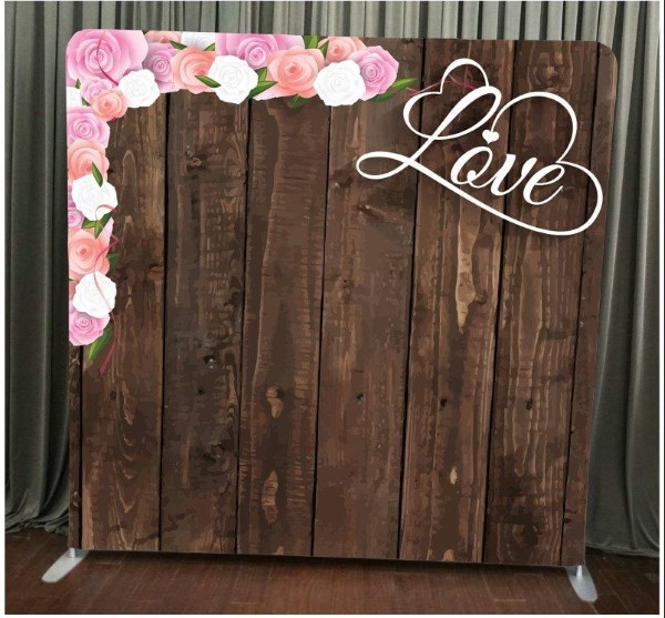 Milestone Photo Booth Rental NJ Dark Wood Love Flowers Backdrop Open Air Special Event Keyport New Jersey New York Pennsylvania