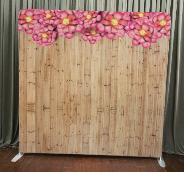 Milestone Photo Booth Rental NJ Light Wood Flowers Backdrop Open Air Special Event Keyport New Jersey New York Pennsylvania