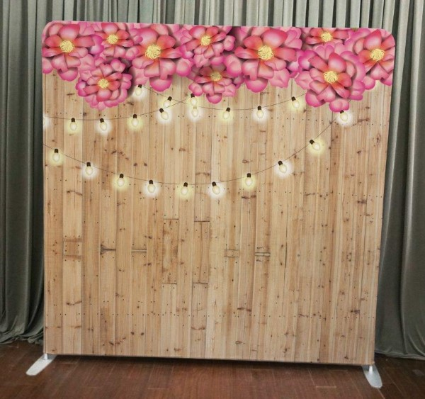 Milestone Photo Booth Rental NJ Light Wood Flowers String Lights Backdrop Open Air Special Event Keyport New Jersey New York Pennsylvania