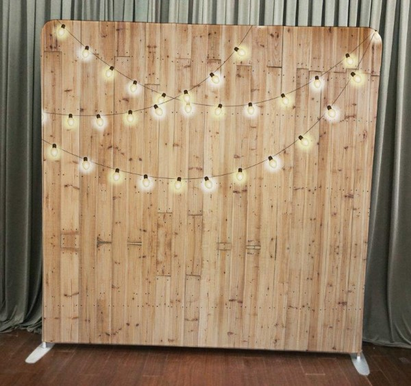 Milestone Photo Booth Rental NJ Light Wood String Lights Backdrop Open Air Special Event Keyport New Jersey New York Pennsylvania