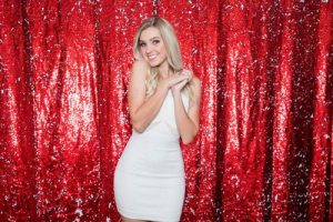 Milestone Photo Booth Rental NJ Shiny Red Matte Peppermint Christmas Reversible Sequin Mermaid Backdrop Open Air Special Event Keyport New Jersey New York Pennsylvania