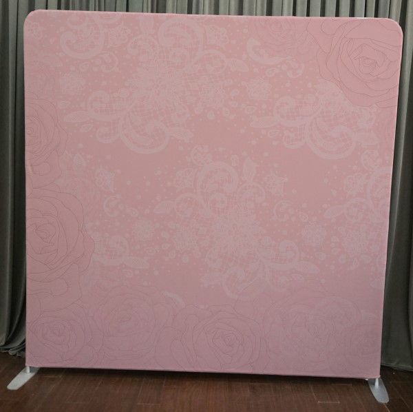 Milestone Photo Booth Rental NJ Pink Lace Flowers Backdrop Open Air Special Event Keyport New Jersey New York Pennsylvania
