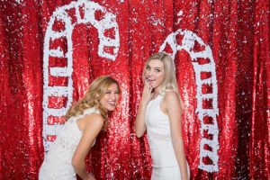 Milestone Photo Booth Rental NJ Shiny Red Matte White Peppermint Candy Cane Christmas Reversible Sequin Mermaid Backdrop Open Air Special Event Keyport New Jersey New York Pennsylvania