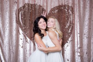 Milestone Photo Booth Rental NJ Bubbly Champagne Pink Red Heart Reversible Sequin Colored Mermaid Backdrop Open Air Special Event Keyport New Jersey New York Pennsylvania