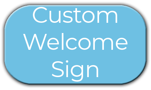 Milestone Photo Booths NJ Add On Upgrade Accessory Custom Welcome Sign Blue Circle Events Keyport New Jersey New York Pennsylvania