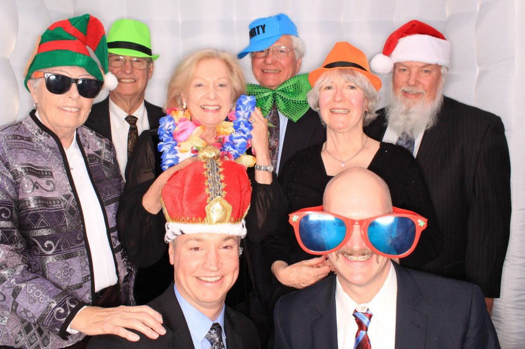 Milestone Photo Booth Rental NJ Holiday Party White Octagon Event Group Picture New Jersey New York Pennsylvania