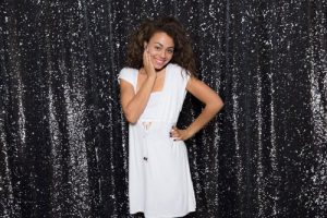 Milestone Photo Booth Rental NJ Mostly Black Colored Tuxedo Mermaid Reversible Sequin Backdrop Open Air Special Event Keyport New Jersey New York Pennsylvania