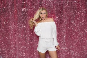 Milestone Photo Booth Rental NJ Pink White Reversible Sequin Colored Paradise Mermaid Backdrop Open Air Special Event Keyport New Jersey New York Pennsylvania