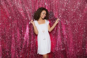 Milestone Photo Booth Rental NJ Pink White Reversible Sequin Paradise Mermaid Backdrop Open Air Special Event Keyport New Jersey New York Pennsylvania