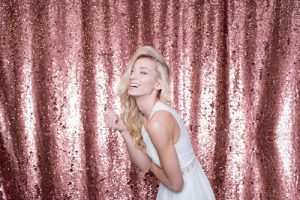 Milestone Photo Booth Rental NJ Mostly Rose Gold Pink Colored Mermaid Reversible Sequin Backdrop Open Air Special Event Keyport New Jersey New York Pennsylvania
