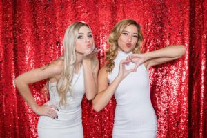 Milestone Photo Booth Rental NJ Shiny Red Matte Navy Italiano Reversible Mermaid Sequin Backdrop Open Air Special Event Keyport New Jersey New York Pennsylvania