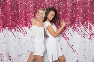 Milestone Photo Booth Rental NJ White Pink Reversible Sequin Colored Paradise Mermaid Backdrop Open Air Special Event Keyport New Jersey New York Pennsylvania