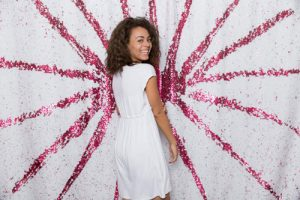 Milestone Photo Booth Rental NJ Pink White Reversible Sequin Colored Rising Sun Spiral Paradise Mermaid Backdrop Open Air Special Event Keyport New Jersey New York Pennsylvani