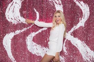 Milestone Photo Booth Rental NJ Pink White Reversible Sequin Colored Strands Paradise Mermaid Backdrop Open Air Special Event Keyport New Jersey New York Pennsylvani