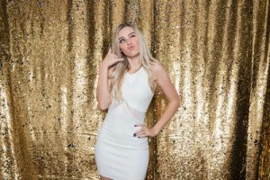 Milestone Photo Booth Rental NJ Reflective Gold Colored Daybreak Mermaid Reversible Sequin Backdrop Open Air Special Event Keyport New Jersey New York Pennsylvania