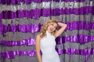 Milestone Photo Booth Rental NJ Reflective Purple Gunmetal Colored Mermaid Rows Reversible Sequin Backdrop Open Air Special Event Keyport New Jersey New York Pennsylvania