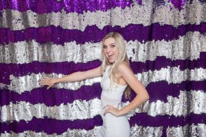 Milestone Photo Booth Rental NJ Reflective Purple Gunmetal Colored Mermaid Sequin Backdrop Open Air Special Event Keyport New Jersey New York Pennsylvania