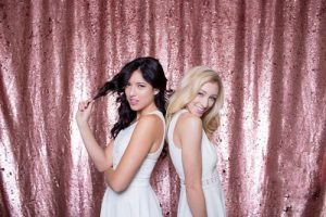 Milestone Photo Booth Rental NJ Rose Gold Mostly Pink Colored Mermaid Reversible Sequin Backdrop Open Air Special Event Keyport New Jersey New York Pennsylvania