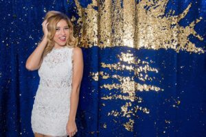 Milestone Photo Booth Rental NJ Royal Blue Reflective Gold Colored Daybreak Sunset Mermaid Reversible Sequin Backdrop Open Air Special Event Keyport New Jersey New York Pennsylvania