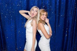 Milestone Photo Booth Rental NJ Royal Blue Gold Reflective Colored Daybreak Mermaid Reversible Sequin Backdrop Open Air Special Event Keyport New Jersey New York Pennsylvania