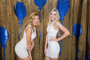 Milestone Photo Booth Rental NJ Royal Blue Reflective Gold Colored Daybreak Mermaid Reversible Sequin Balloon Backdrop Open Air Special Event Keyport New Jersey New York Pennsylvania