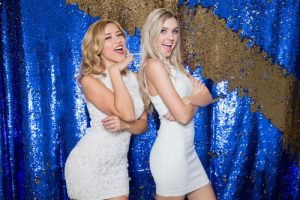 Milestone Photo Booth Rental NJ Royal Blue Reflective Gold Colored Daybreak Mermaid Reversible Sequin Streak Backdrop Open Air Special Event Keyport New Jersey New York Pennsylvania