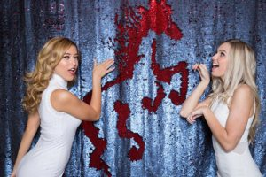 Milestone Photo Booth Rental NJ Shiny Red Navy Colored Italiano Mermaid Reversible Sequin Colt Horse Backdrop Open Air Special Event Keyport New Jersey New York Pennsylvania