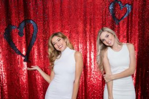 Milestone Photo Booth Rental NJ Shiny Red Matte Navy Colored Italiano Mermaid Reversible Sequin Hearts Backdrop Open Air Special Event Keyport New Jersey New York Pennsylvania