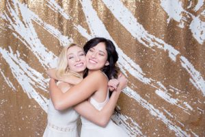 Milestone Photo Booth Rental NJ White Gold Carat Colored Mermaid Sequin Backdrop Open Air Special Event Blonde Brunette Models Keyport New Jersey New York Pennsylvania