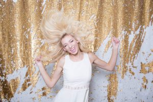Milestone Photo Booth Rental NJ Gold White Carat Streak Colored Mermaid Sequin Backdrop Open Air Special Event Blonde Model Keyport New Jersey New York Pennsylvania