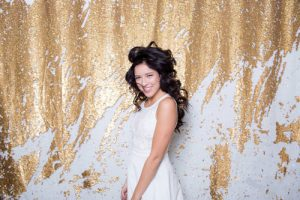 Milestone Photo Booth Rental NJ White Gold Carat Streak Colored Mermaid Sequin Backdrop Open Air Special Event Keyport New Jersey New York Pennsylvania