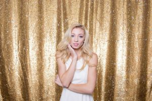 Milestone Photo Booth Rental NJ White Mostly Gold Carat Colored Mermaid Sequin Backdrop Open Air Special Event Keyport New Jersey New York Pennsylvania