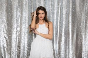 Milestone Photo Booth Rental NJ White Mostly Silver Diamond Colored Mermaid Reversible Sequin Backdrop Open Air Special Event Keyport New Jersey New York Pennsylvania